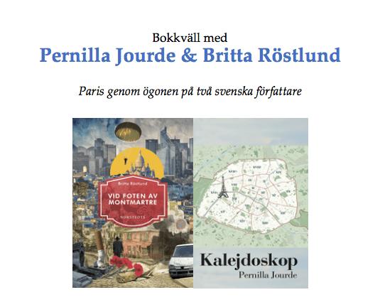Bokkväll med Pernilla Jourde och Britta Röstlund, den 19 oktober kl 19.30