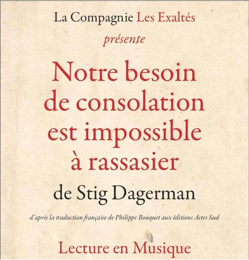 """""""Vårt behov av tröst"""" av Stig Dagerman : föreställning den 18 mars kl 20.30"""