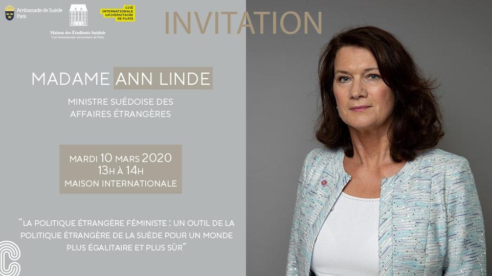 Déjeuner-débat avec Ann Linde, Ministre des Affaires étrangères